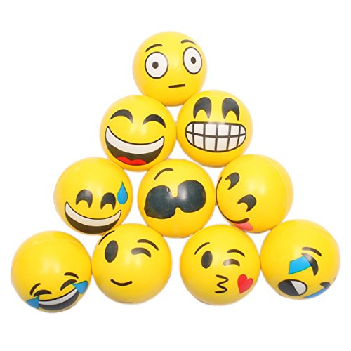 XRDSS Squeezable Stress Ball 12 Pack Children's toy ball adult pressure ball (12 emoticons) by XRDSS