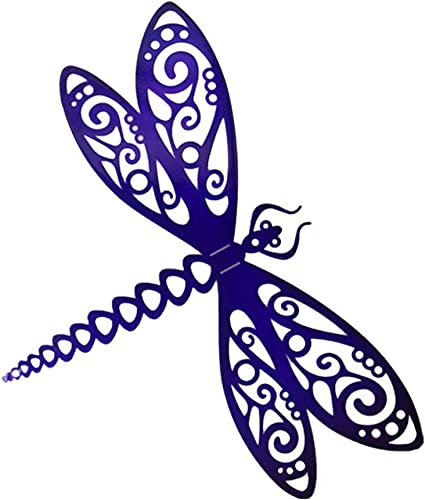 Steel Roots Decor Powder Coated Metal in Purple 3D Dragonfly Wall Art Laser Cut Holes 12 inch