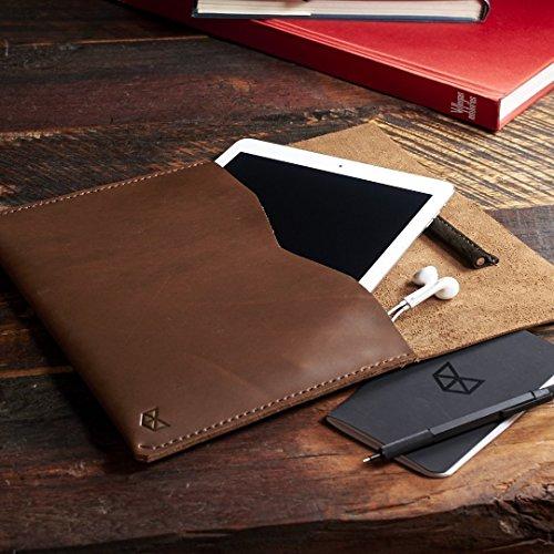 Light Brown iPad Pro 9.7, 10.5 & 12.9 inch Leather Case with Apple Pencil Holder, Custom Boyfriend Gift Case, Monogram iPad Leather Sleeve // DRAFTSMAN - Boyfriend Havana Brown