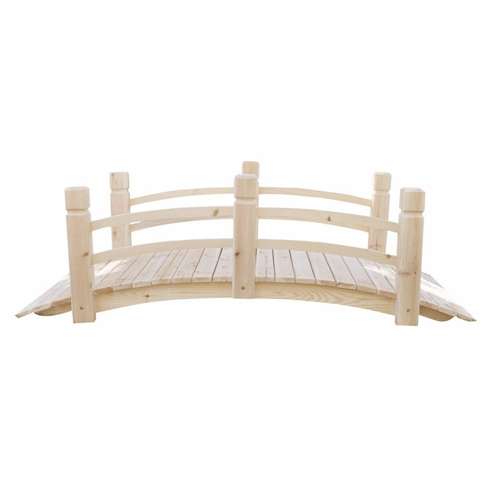 MD Group Garden Bridge Cedar Wood 5-ft Long Moisture-resistant With Rails Outdoor Lawn Decor