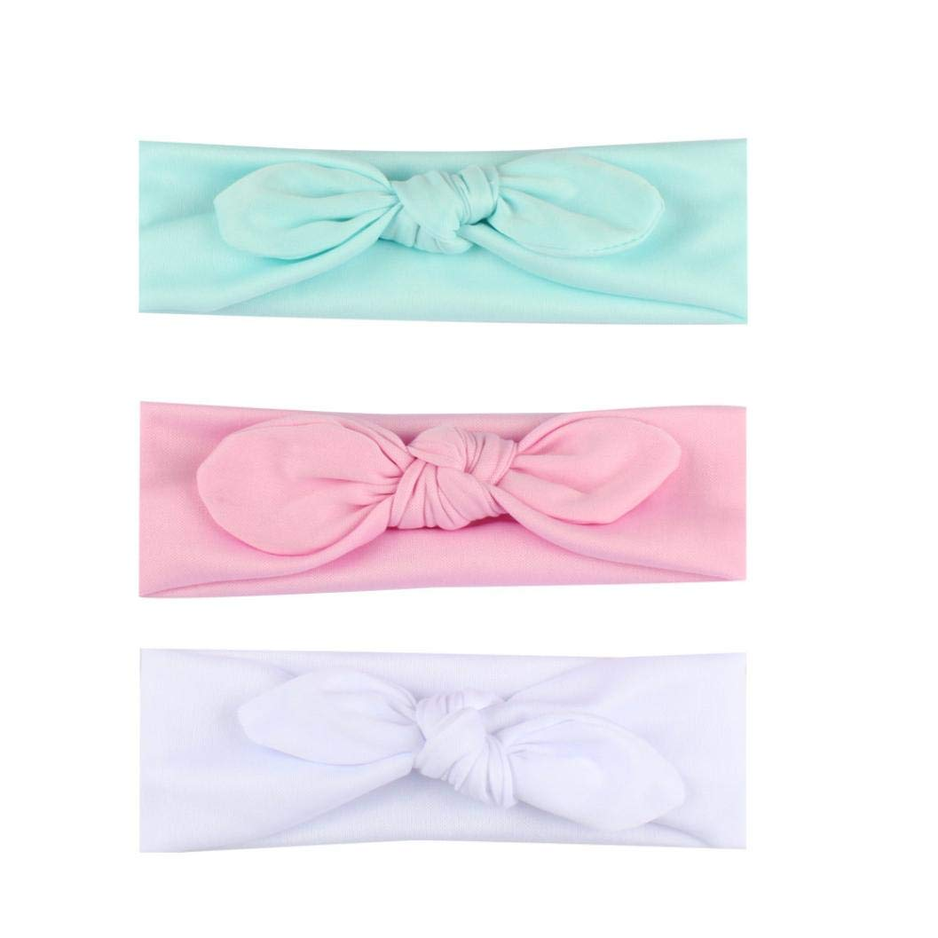 3 Pcs Baby Boys Girls Headbands Set Soft Turban Knot Rabbit Headwrap Bowknot Elastic Hospital Hat for Newborns/Toddlers Cute Knotted Bow Headwrap Fit 6M-6T Baby (A)