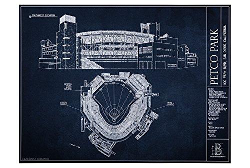 Petco Park Blueprint Style Print (Unframed, 18