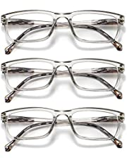 GOBOOMAN Bril leesbril met veerscharnier, leesbril 1.0 1.5 2.0 2.5 3.0 3.5 dames heren computer leesbril heldere lens bril lezen 3 paar leesbril leeshulp