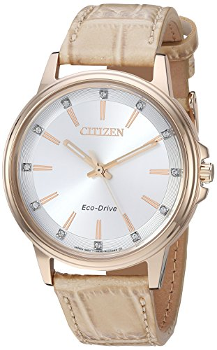 Citizen Women's 'Eco-Drive' Quartz Stainless Steel and Leather Casual Watch, Color:Beige (Model: FE7033-08A) ()