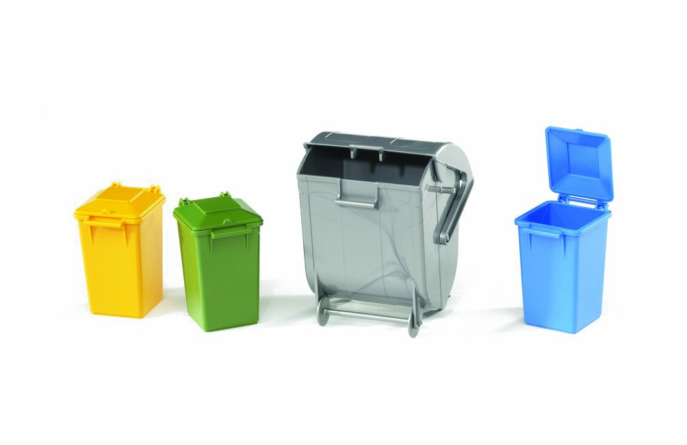 Bruder 02606 Garbage Can Set (3 Small and 1 Large) Trucks Vehicles dustbin cleaning