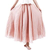 HOYMN Women's Weekend Skirts Full/Ankle Length Maxi Skirt Linen Solid Color Skirt 37""