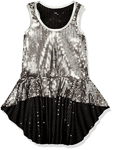 [Gia-Mia Dance Big Girls' Sequin Peplum Tank Jazz Costume Performance Team, Silver, S] (Dance Team Costume Tops)