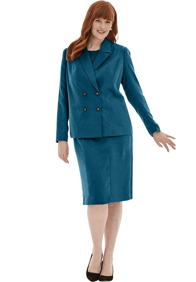 Jessica London Women's Plus Size 2-Piece Jacket Dress Exotic Peacock,20