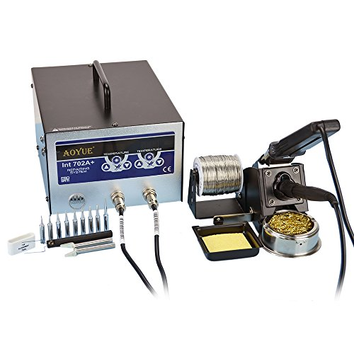 Aoyue 702A+ All Digital Dual Function Soldering and Hot Tweezers Station, 10 Soldering Tips and 2 sets of Tweezers Tips