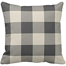 Emvency Throw Pillow Cover Rustic Gray and Beige Buffalo Check Plaid Decorative Pillow Case Pattern Home Decor Square 18 x 18 Inch Cushion Pillowcase