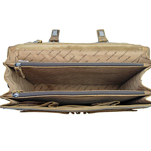 BARON de MALTZAHN - Grand cartable bandoulière HEDIN en cuir compris les soins en cuir
