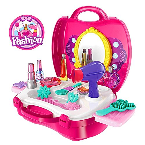 Kids Pretend Play Make Up Case And Cosmetic Set, Durable Beauty Kit Hair Salon with 21 Pcs Makeup Accessories for Children Girls