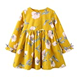 FUNIC Baby Girl Dresses, Toddler Kids Baby Girls Long Sleeve Floral Bowknot Party Dress Princess Dresses (Yellow, 3 Year)