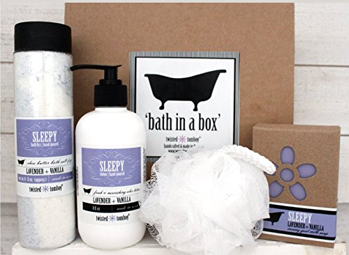 'Bath In A Box' Gift Set Lavender+Vanilla 'Sleepy' - Shea Butter Bath Salt Fizz (Bath Bomb In A Bottle), Goat Milk Soap & Moisturizing+Nourishing Aloe Lotion & Exfoliating Bath Puff - Lavender Lemongrass Bath Salts