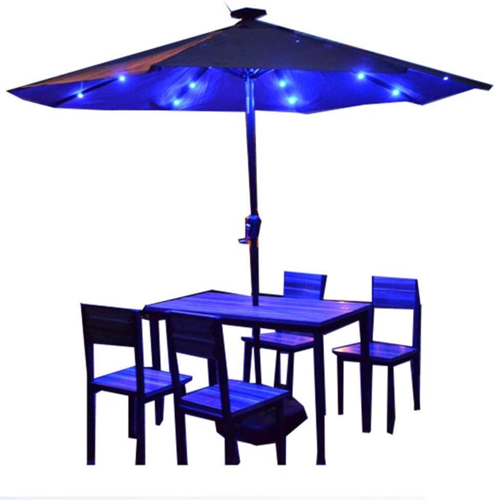 ZDW Sombrilla de patio al aire libre con luz solar de 10 pies con estilo de mercado para mesa de jardín Terraza de patio trasero Sombrilla al aire libre Sombrilla portátil,rojo,luz amarilla