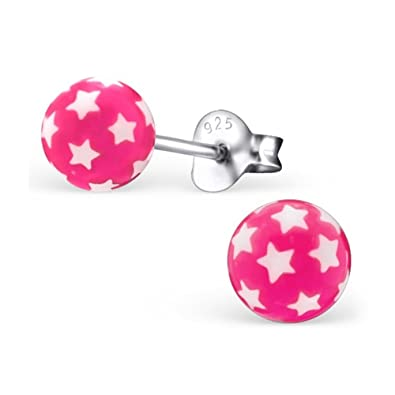 Plata Plata 925 bola de plástico rosa pendiente enchufe de plata
