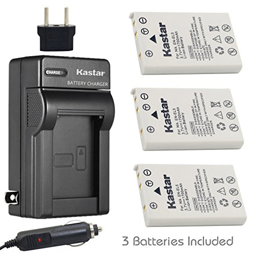 Kastar Battery 3-Pack + Charger Kit for Nikon EN-EL5, Nikon MH-61 work with Nikon Coolpix 3700, 4200, 5200, 5900, 7900, P3, P4, P80, P90, P100, P500, P510, P520, P530, P5000, P5100, P6000, S10 Cameras