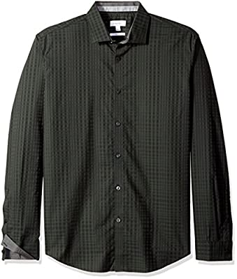 Calvin Klein Men's Shadow Plaid Long Sleeve Button Down Shirt