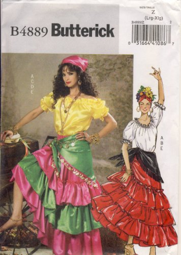 Butterick Sewing Pattern 4889 - Use to Make - Easy Misses Gypsy Costume - Misses Sizes L, XL ()