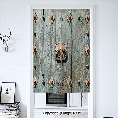 AngelDOU Rustic Door Curtains Home Decor Modern Valances European Cathedral with Rusty Old Door Knocker Gothic Medieval Times Spanish Style Decorative Room Divider for Bedroom Kitche 33.5x59 inches