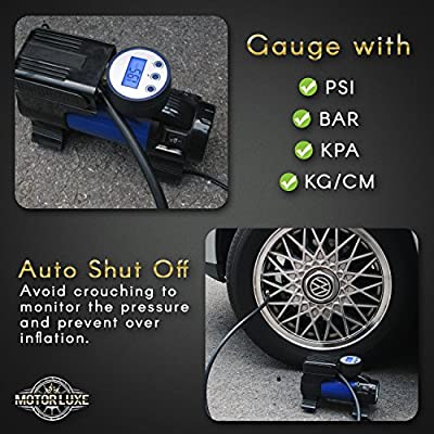 Motor Luxe Portable Air Compressor Pump 12V DC - Digital Tire Inflator with 100 PSI Pressure Gauge for Car - Auto Shut Off & Free Accessories: Automotive