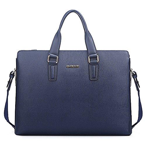Shoulder Mens Padieoe Bag Leather Satchel Blue Laptop Briefcase Messenger wIIxqd7v