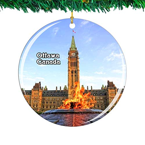 Weekino Canada Parliament Hill and Buildings Ottawa Christmas Ornament City Travel Souvenir Collection Double Sided Porcelain 2.85 Inch Hanging Tree Decoration (Trees Christmas Ottawa)