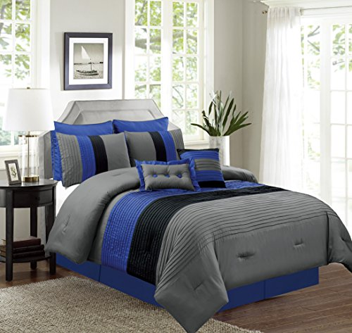 8 Piece KING Size NAVY BLUE / BLACK / GREY Pin Tuck Stripe Regatta Goose Down Alternative Comforter set 104