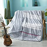 Uther Thin Comforter for Summer Washable Quilted Coverlet Bedspread Bed Cover Summer Quilt Blanket (White stripe,King)