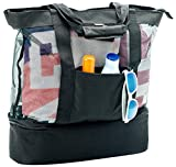 Mesh Beach Bag With Insulated Picnic Cooler | Top Zipper Closure & Detachable Cooler