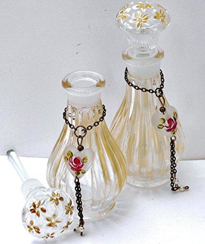 Bottle Swarovski Stopper (Cute Mini Glass Perfume Bottle with Stopper Cap Painted Heart Charm Swarovski Crystal Pearl Tassel)