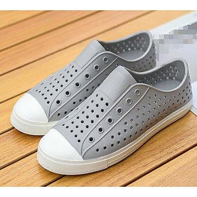 Los hombres sandalias zapatos agujero confort par zapatos casual de resorte de goma gris plana en blanco y negro,blanco Gray