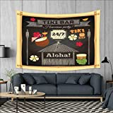 smallbeefly Hawaii Wall Hanging Tapestries Traditional Tiki Bar Poster Design with Coconut Drink and Aloha Slogan Bamboo Frame Large tablecloths 84''x54'' Multicolor