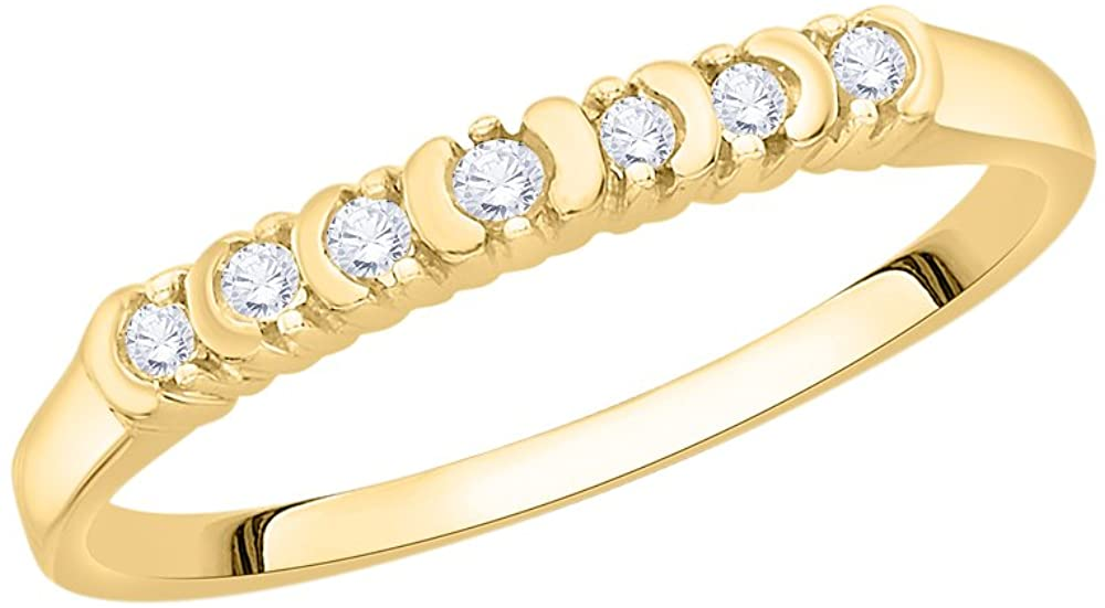 1//10 cttw, G-H,I2-I3 Diamond Wedding Band in 10K Yellow Gold Size-9.75