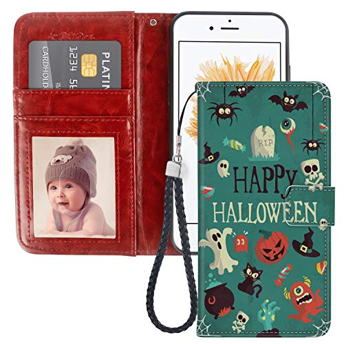 Happy Holloween Vector Image iPhone 5C Wallet Phone Case JQLOVE Apple Series PU Leather Flip Magnetic Clasp with Card Slot Stand Holder Wallet Case for iPhone 5C Happy Holloween Vector Image