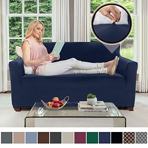 (Gorilla Grip Original Velvet Fitted 1 Piece Loveseat Slipcover, Stretch Up to 54 Inches, Soft Velvety Covers, Luxury Couch Slip Cover, Spandex Loveseats Furniture Protector, with Fasteners, Navy Blue)