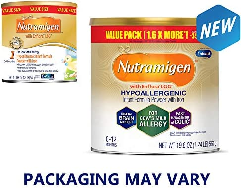 Enfamil Nutramigen Hypoallergenic Colic Baby Formula Lactose Free Milk Powder, 19.8 ounce (Pack of 4) - Omega 3 DHA, LGG Probiotics, Iron, Immune Support