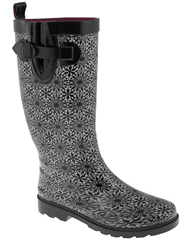 Capelli New York Small Daisy Lace Printed Ladies Tall Rubber Rain Boot Black Combo 10 ()