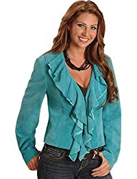 Women's Ruffled Suede Leather Jacket - L127-81