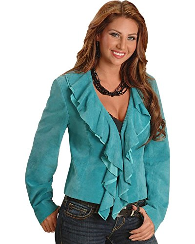 Scully Women's Ruffled Suede Leather Jacket Blue XX-Large