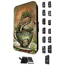 896 - Tea Dragon, Martini Dragon, White Wine Dragon Design Fashion Trend Credit Card Holder Purse Wallet Book Style Tpu Leather Flip Pouch Case Samsung Galaxy A5