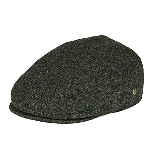 VOBOOM Men's Herringbone Flat Ivy Newsboy Hat Wool Blend Gatsby Cabbie Cap (Army Green, XL)