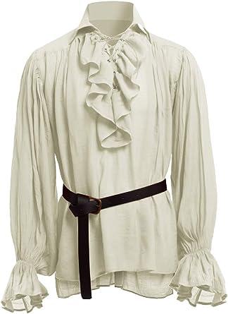 Hooleeger - Camisa gótica para Hombre, Camisa de Volantes, Camisa Medieval, para Carnaval, Cosplay, Pirata 2-Beige L: Amazon.es: Ropa y accesorios