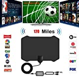 TV Antenna, [2019 Strongest] Indoor Digital HDTV Amplified Antennas Freeview 4K 1080P HD VHF UHF for Local Channels 120 Miles Range with Signal Amplifier Support All TV's-13ft Coax Cable