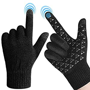 FRETREE Winter Gloves for Men- Touchscreen Warm Knit Gloves with Thickened Cuff & Anti-Slip Palm for Women, 3 Finger Touchscreen for Texting & Driving