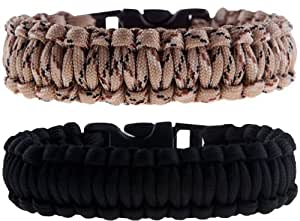"2 Pack of Premium Paracord / Para-cord Survival Bracelets 8"" (Medium) - 7/8"" Buckle, 4-Strand Core, 11.8 feet, 7 inner yarns - Black & Desert Camo - The Friendly Swede® Paracord Series (S350/78/4/-8BC) - In Retail Packaging with Branded Buckle"