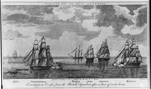 Uss Constitution Pictures (1815 Photo Constitution's escape from the British squadron after a chase of sixty hours / M. Cornè p. ; W. Hoogland sc. Print shows rowboats towing the USS Constitution away from the British fleet as)