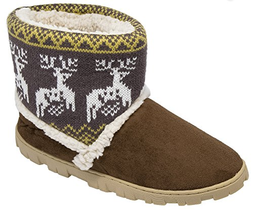 Ladies Divaz Brown Warm Lined Boot Slippers