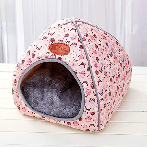 (Hot Fleece Soft Pet Yurt Home Dog Bed Puppy Dog Kennel Pet Bed House for Dog Cat Small Animals Home Dog House with Mats Gifts)