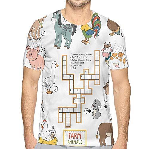 t Shirt for Men Kids Game,Crossword Farm Animal